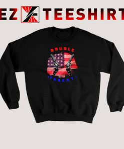 Double Threat Two Guns American Flag Helmet Sweatshirt