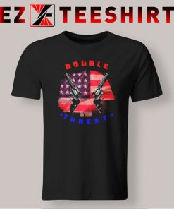 Double Threat Two Guns American Flag Helmet  T-Shirt