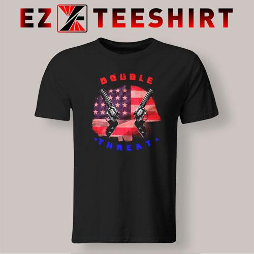 Double Threat Two Guns American Flag Helmet  T-Shirt