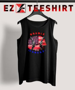 Double Threat Two Guns American Flag Helmet Tank Top