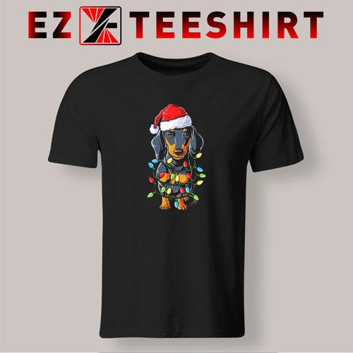 Dachshund Christmas Xmas Lights T-Shirt
