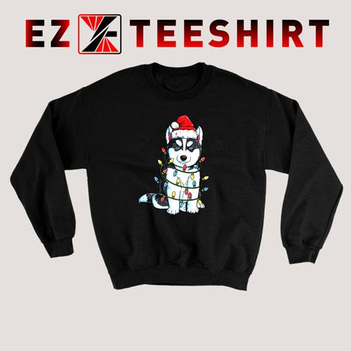 Siberian Husky Christmas Tree Sweatshirt
