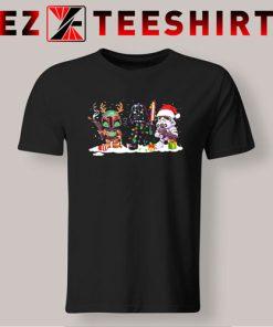 Star Wars Boba Fett Darth Vader And R2-D2 Santa Christmas T-Shirt