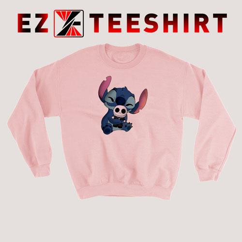 Stitch Hug Jack Skeleton Sweatshirt