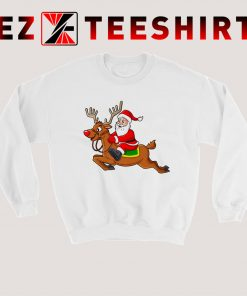Santa Claus Riding Reindeer Sweatshirt