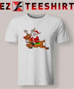 Santa Claus Riding Reindeer T Shirt